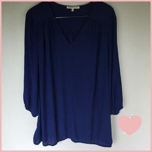 Royal Blue Long Sleeve Sheer Flowy Top